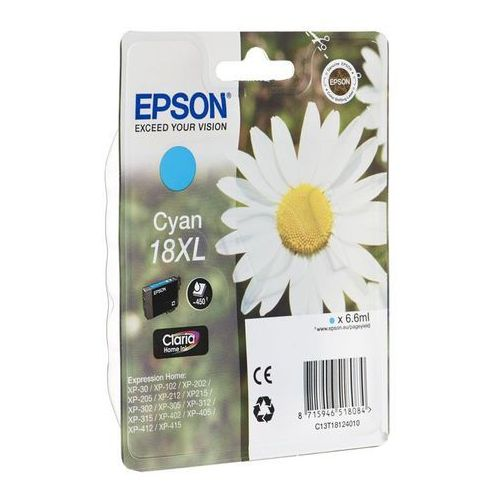 EPSON 18XL ink cartridge cyan high capacity 6.6ml 450 pages 1-pack blister without alarm