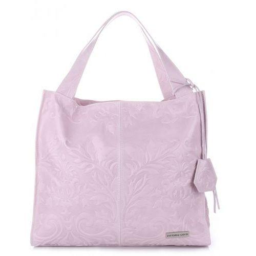 Made in italy duża torba skórzana shopper xxl w tłoczone wzory pudrowy róż (kolory) made in italy duża torba skórzana xxl w tłoczone wzory pudrowy róż