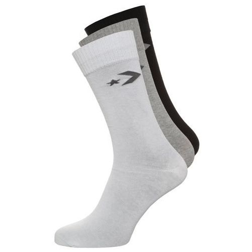 Converse BASIC CREW 3 PACK Skarpety mid grey melange/white grey/black