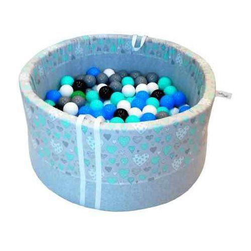 Babyball Suchy basen z piłeczkami dla dzieci miętowe serduszka