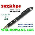 Dyktafon/Rejestrator Dźwięku Ukryty w Długopisie (poj. 4GB/70h.)., 59077735362