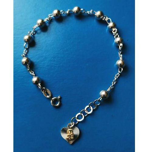 Bransoletka - różaniec, srebrna - z medalikiem Matki Bożej Częstochowskiej