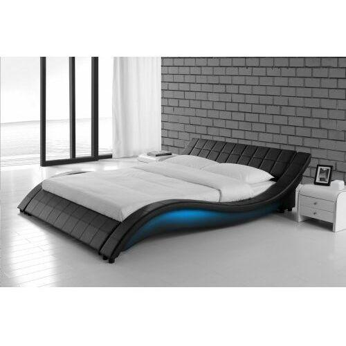 łóżko Tapicerowane Do Sypialni 140x200 839 Led Czarne Meblemwm