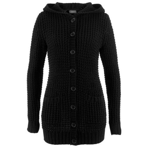 Sweter rozpinany z kapturem bonprix czarny, kolor czarny