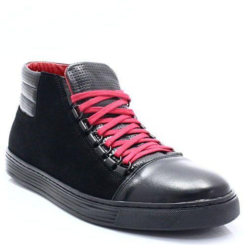 Kent 304 czarny+czerwony - skórzane trampki za kostkę - czerwony ||czarny