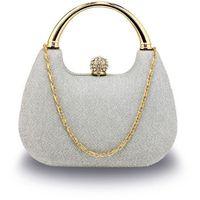 Srebrna brokatowa torebka wizytowa z rączką - srebrny