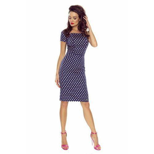 Ołówkowa sukienka w grochy z krótkim rękawem, ołówkowa