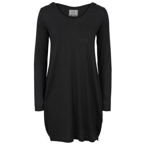 Sukienka shirtowa z kapturem czarny marki Bonprix