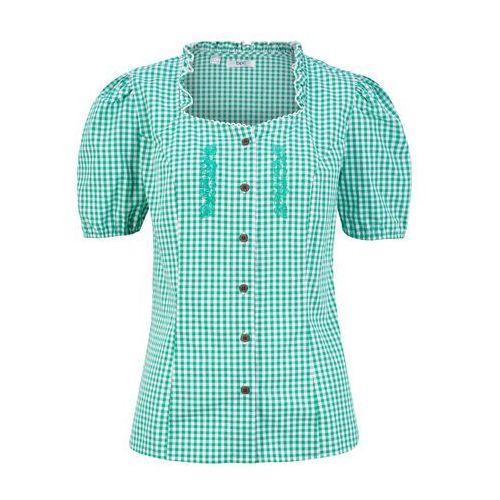 Bluzka ludowa z nadrukiem, krótki rękaw bonprix zielony miętowy - biały, w 4 rozmiarach