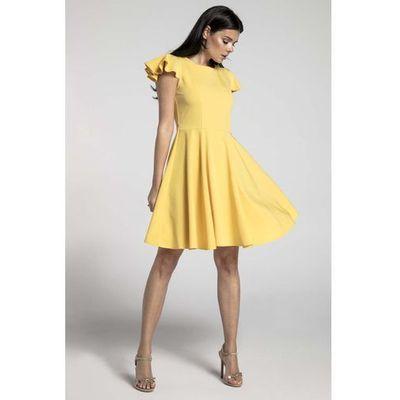 6148864cab Żółta Rozkloszowana Sukienka z Rękawkiem Typu Motylek