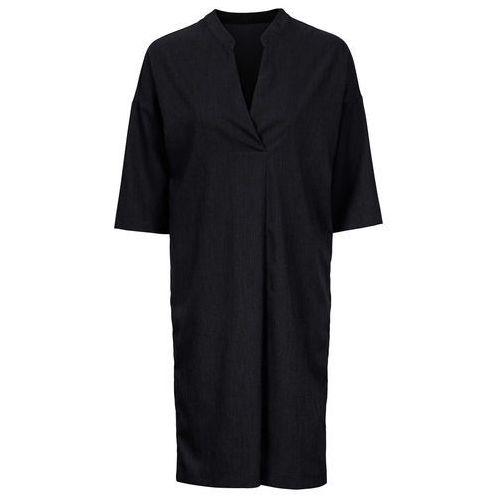 Sukienka z kołnierzem i dekoltem w serek czarny melanż, Bonprix, 32-46