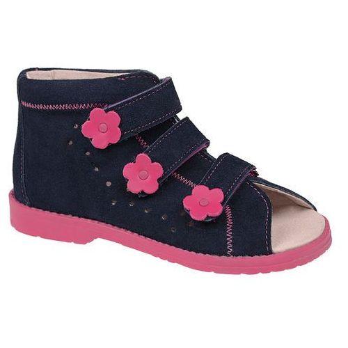 Sandały profilaktyczne ortopedyczne buty 1043 granat+róż grc - granatowy ||różowy ||multikolor marki Dawid