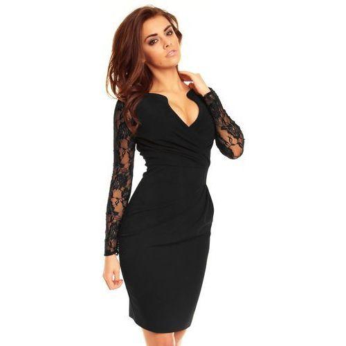 b8f1f7ee6c Zobacz ofertę Czarna koronkowa sukienka z założeniem kopertowym Kartes moda