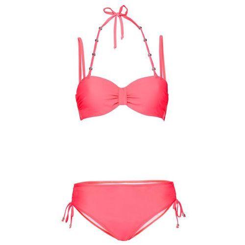 Bikini na fiszbinach (2 części) czerwony neonowy marki Bonprix