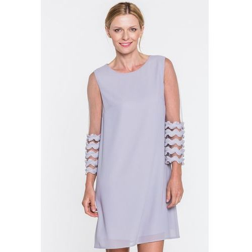 b7417c7996 Szara sukienka z przezroczystymi rękawami (Sisel) - sklep ...