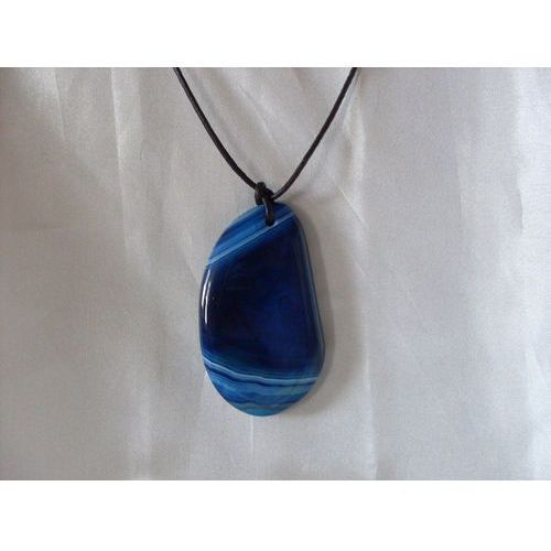 N-00028 Naszyjnik z agatu w kolorze niebieskim, 22-03-11