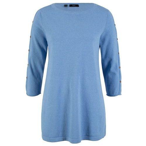 """Sweter z przędzy mieszankowej """"oversize"""", długi rękaw ciemnoniebieski marki Bonprix"""