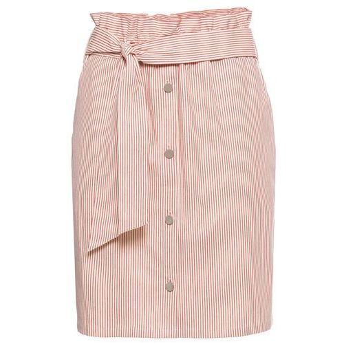 458985f5bb5f94 Zobacz w sklepie Spódnica bonprix piaskowo-beżowy - czerwony w paski, kolor  beżowy