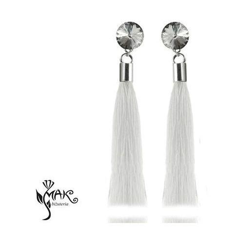 Kol779 kolczyki chwosty frędzle białe swarovski elements srebro 925 marki Mak-biżuteria