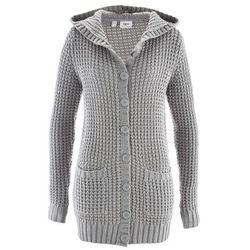 Sweter rozpinany z kapturem bonprix jasnoszary melanż