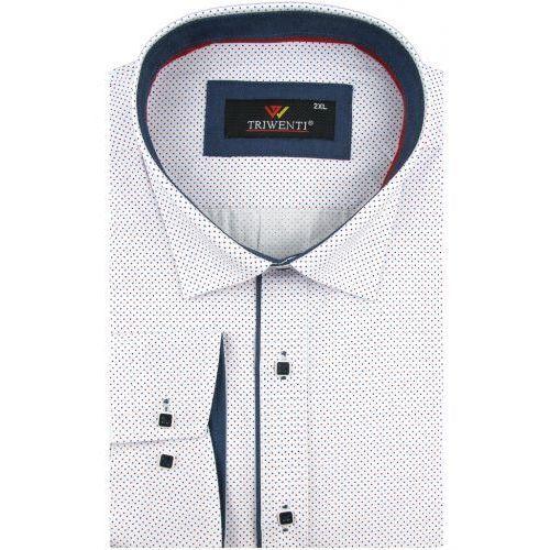 2a29e3992efdb0 Duża koszula męska biała w kropki na długi rękaw duże rozmiary a012 marki  Triwenti - Galeria