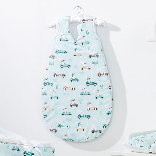 MAMO-TATO Śpiworek niemowlęcy do spania Bubble Wyścigówki miętowe, kolor zielony