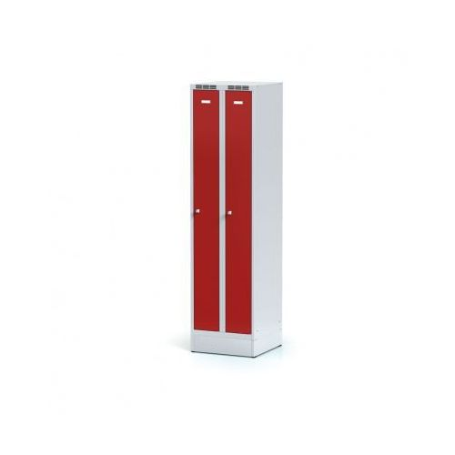 Metalowa szafka ubraniowa, wąska, na cokole, czerwone drzwi, zamek cylindryczny B2b partner