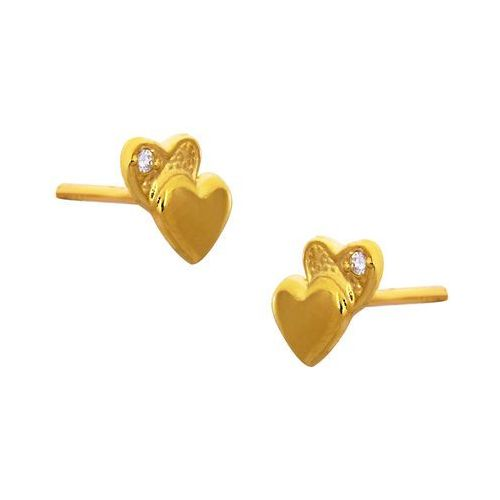 Kolczyki złote serduszka z cyrkoniami