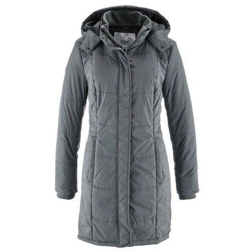 Długa kurtka pikowana, ocieplana dymny szary, poliester (bonprix)