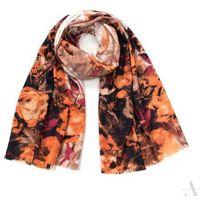 Stylowy szal damski z wzorem róży brązowo-pomarańczowy - brązowy || pomarańczowy || rudy || bordowy || biały SZALIKI, CZAPKI, RĘKAWICZKI (-20%)