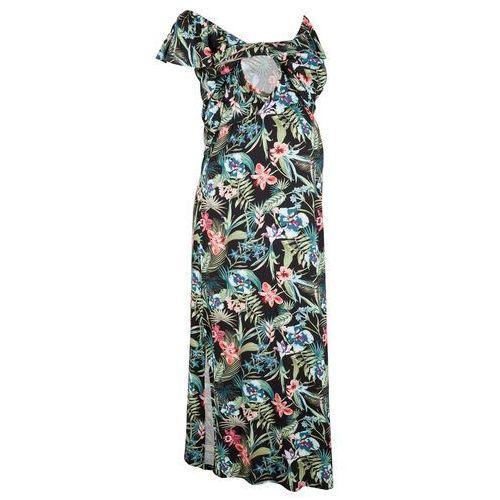 Sukienka ciążowa i do karmienia czarny w roślinny wzór, Bonprix, 44-54