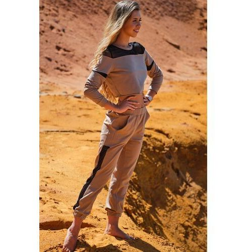 Dresowe spodnie z siateczkowym panelem - beżowe, 1 rozmiar