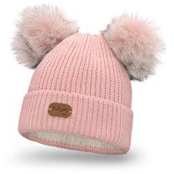 Zimowa czapka dziewczęca PaMaMi - Pudrowy róż - Pudrowy róż