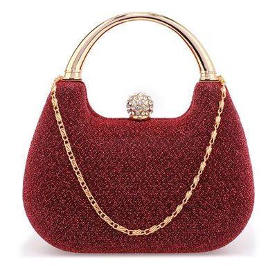 f8a8485d76426 Brokatowa torebka wizytowa z rączką ciemna czerwień - czerwony