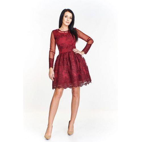 Wieczorowa sukienka z koronkowym wzorem, przejrzystymi wyszywanymi rękawami i rozkloszowanym dołem, wieczorowa
