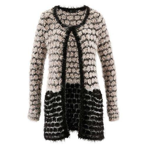Sweter rozpinany z przędzy z długim włosem bonprix beżowoszaro-czarny, rozpinany