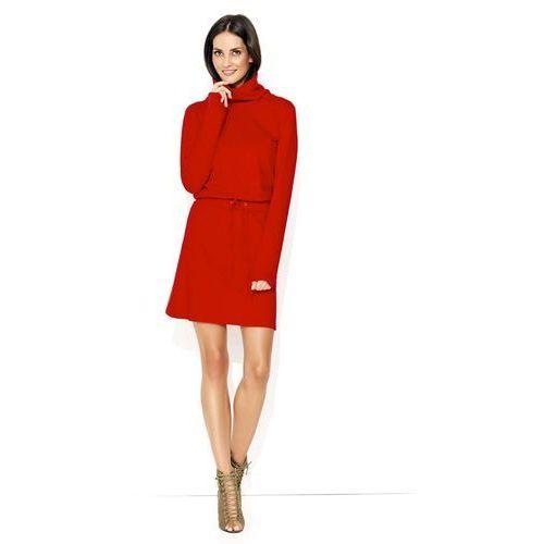 9c6f109f7d38c5 Czerwona Codzienna Trapezowa Sukienka z Wysokim Golfem, trapezowa ...
