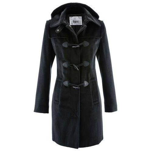 Krótki płaszcz z kapturem bonprix czarny, kolor czarny