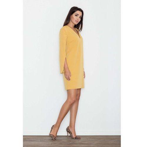 5c695247b4 Żółta Sukienka Koktajlowa Mini z Rozciętym Rękawem