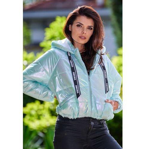 Awama Krótka pikowana kurtka z holograficznego materiału - miętowa