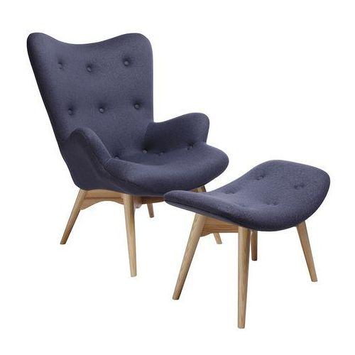 Fotel CONTOUR z podnóżkiem - szary, tkanina, nogi jesion (5900168800526)