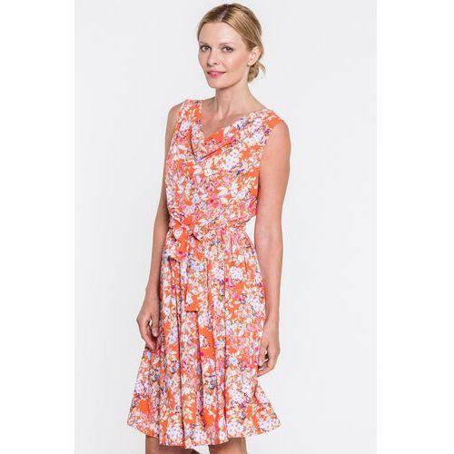 Pomarańczowa sukienka w kwiaty Smile - Tova, 1 rozmiar