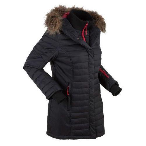 Długa kurtka outdoorowa pikowana bonprix czarny, w 6 rozmiarach