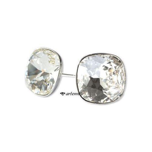 Kolczyki sztyfty Swarovski square Crystal srebrne