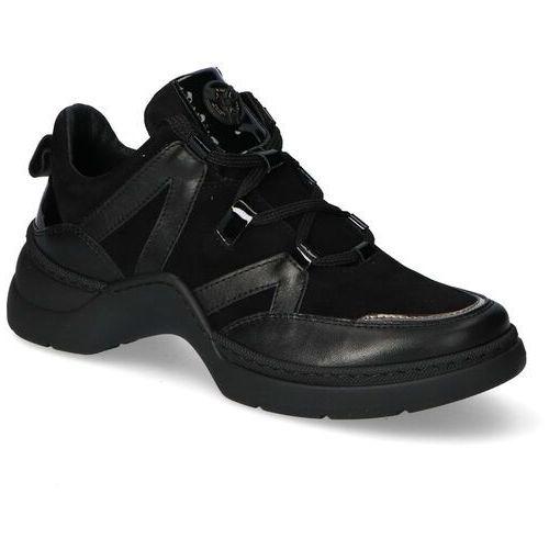 Sneakersy Nessi 19645 Czarne lico+zamsz, kolor czarny