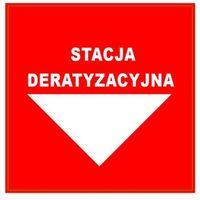 """Naklejka ostrzegawcza, etykieta """"stacja deratyzacyjna"""" na ścianę. marki No-pest"""