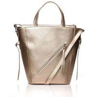 Miedziana nowoczesna damska torebka shopper z suwakiem na przodzie