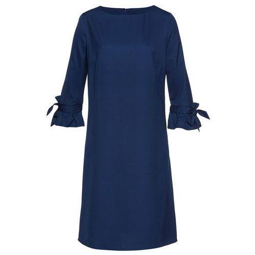 Sukienka tunikowa, rękawy 3/4 ciemnoniebieski marki Bonprix