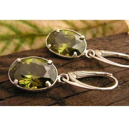 VERONA - srebrne kolczyki z oliwinem, kolor szary