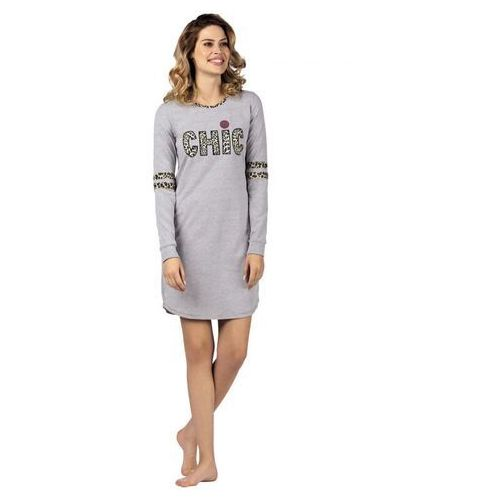 Koszula Nocna Model Chic 104425 dł.ręk. Grey Melange, kolor  YKysK